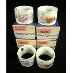 Set of 4 Wedgwood Meadow Sweet Napkin Rings in Original Box