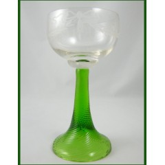 German Roemer Wine Glass Goblet - Uranium Spiral Twist