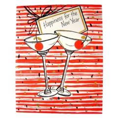 Maraschino Cherry Martinis - Unused Vintage Hallmark New Years Happiness Greeting Card