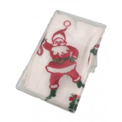 Vintage Embroidered Christmas Santa & Bell Hanky Handkerchief in Case