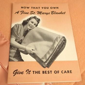 Unused 1950s All Wool Peach Bloom Whisper St Marys Blanket in Box - NOS