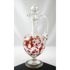 Footed European Crystal Glass Cordial Liquor Decanter with Gilded Enamel Grapes
