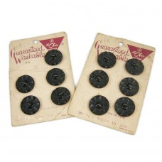 Set of 11 Black Daisy Flower LeChic Buttons on Cards
