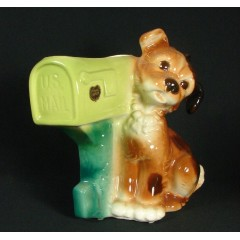 Royal Copley Pottery Dog at Mailbox Vintage Planter Original Label