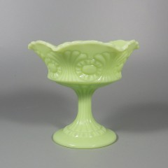Satin Green Fenton 8248 Scroll and Eye Jelly Compote