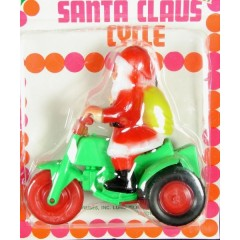 Vintage Yuletide Santa Claus Cycle on 3-Wheel Motorcycle Friction Toy - Christmas - Never Opened