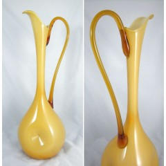 Tall Butterscotch Italian Empoli Dimpled Cased Art Glass Ewer