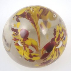 Signed India Vintage Triple Trumpet Lily Controlled Bubble Paperweight