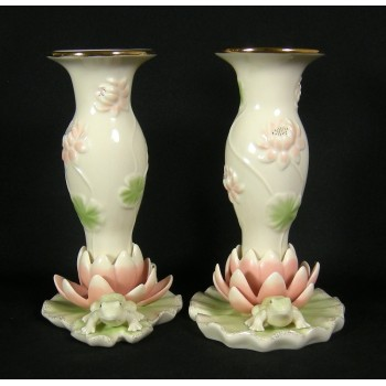 Pair of Lenox Floral Frog Candlesticks