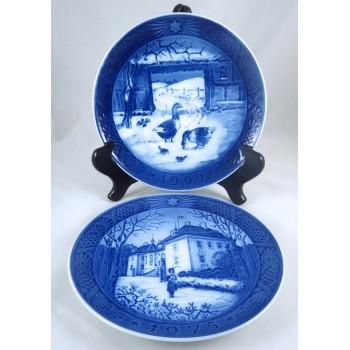 1969 & 1975 Royal Copenhagen Blue & White Decorative Christmas Plates
