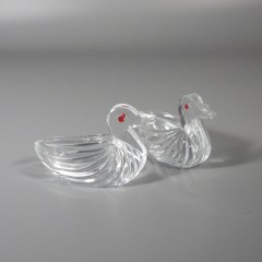 Crystal Glass Figural Salt Cellar Dip Open Back Duck - West Germany