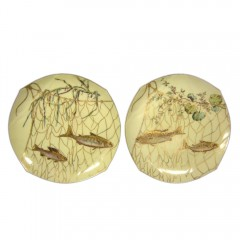 Pair of c 1900 Tressemann Vogt Limoges Fish in Net Cabinet Plate