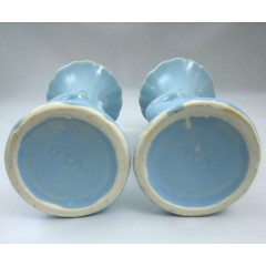 "Vintage Shawnee Art Pottery Hand Vase Pair in Light Blue 7"" Tall"