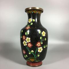 Chinese Cloisonne Baluster Vase - Red & White Prunus Flowers