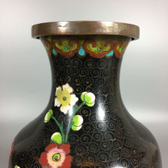 "Vintage Chinese Cloisonne Baluster Vase - Red & White Prunus Flowers - 9"" Tall 1930s"