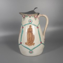 c 1870 English Earthenware Syrup Pitcher Jug with Pewter Lid