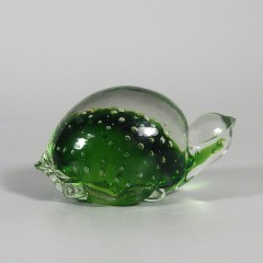 Green Vintage Controlled Bubble Figural Turtle Paperweight - Japan