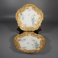 Pair Delinieres Limoges Blue Roses Gilded Rococo Cabinet Plates
