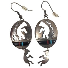 Vintage Kokopelli Southwestern Sterling Silver Dangle Earrings