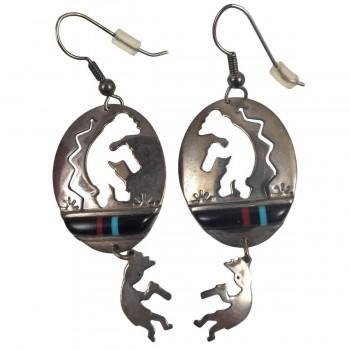 Vintage Kokopelli Southwestern Sterling Silver Dangle Earrings