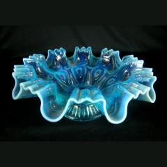 Scarce 1905 Blue Opalescent Dugan Keyhole Bowl