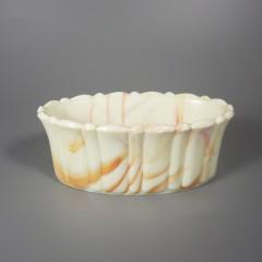 Vintage Akro Agate Oval Orange Slag Glass Planter 654