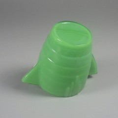 Green Vintage Akro Agate Stacked Disc Children's Teapot and White Lid