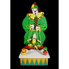 1970s Wooden Clown Puppeteer Motion Music Box