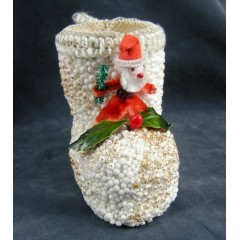Chenille Santa Christmas Boot Candy Container
