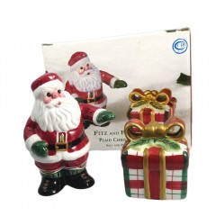 Fitz and Floyd Plaid Christmas Salt Pepper Shaker Set in Original Box