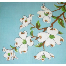 Dogwood Flowers on Blue Vintage Hanky Handkerchief
