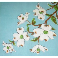Dogwood Flowers on Blue Vintage Hanky Handkerchief