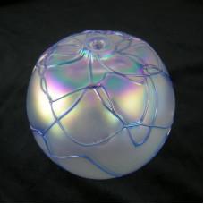 Threaded Iridescent Ice Levi Art Glass Oil Lamp