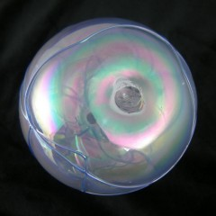 Threaded Iridescent Ice Levi Art Glass Oil Lamp