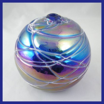 Threaded Levi Cobalt Blue Art Glass Oil Lamp