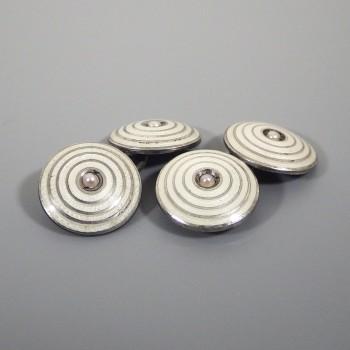 Vintage Sterling Silver Cufflinks Art Deco Enamel Guilloche Seed Pearl
