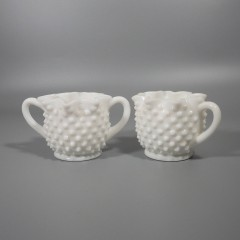Fenton Milk Glass Hobnail Star-Shaped Creamer Sugar Set - 3917