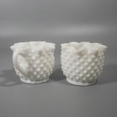 Fenton Milk Glass Hobnail Star-Shaped Creamer Sugar Set - 3917