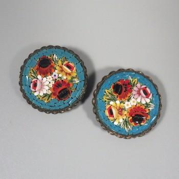 True Pair of Vintage Italian Mosaic Dress Clips Floral Bouquet