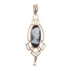 Antique 10k Gold Art Deco Lavalier Necklace Pendant Black Onyx Cameo