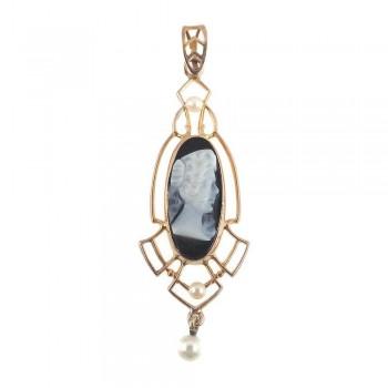 Antique 10k Gold Art Deco Lavalier Necklace Pendant Black Onyx Cameo