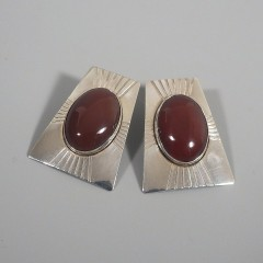 Vintage Sunwest Silver Carnelian Earrings - Native American Sterling Silver