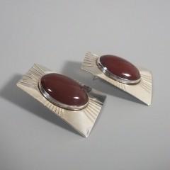 Vintage Sunwest Silver Carnelian Earrings - Native American Sterling Silver