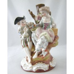 Voigt Sitzendorf Porcelain Figural Group - Courting Couple
