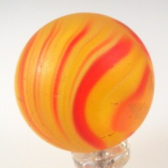 Large Vintage Czech Striped Marble in Yellow and Red Onionskin