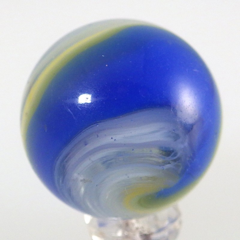 Akro Agate Blue Yellow B Y Vintage Popeye Corkscrew Marble