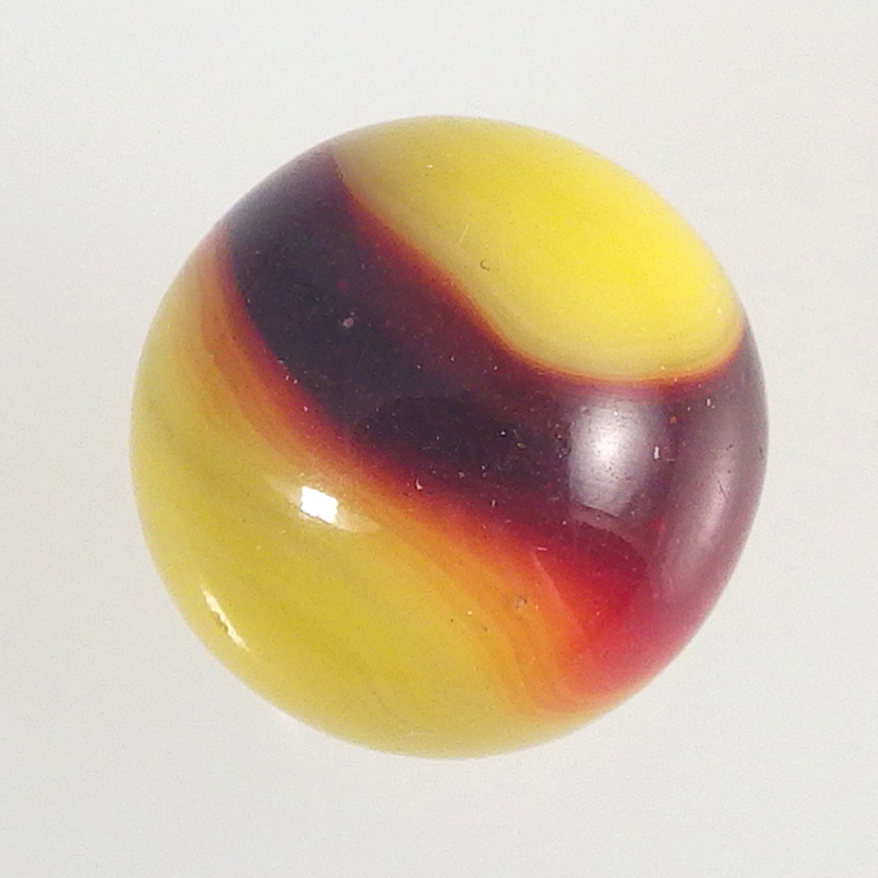 Red Yellow Vintage Akro Agate Prize Name Corkscrew Marble