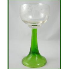 German Roemer Wine Glass Goblet - Uranium Spiral Twist