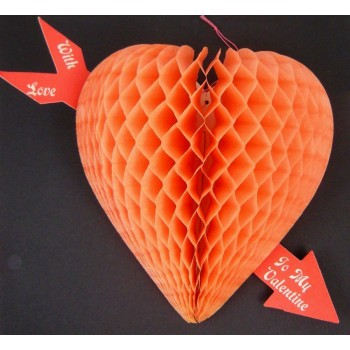 Vintage 1930s Luhrs Beistle Heart Honeycomb Tissue With Love To My Valentine