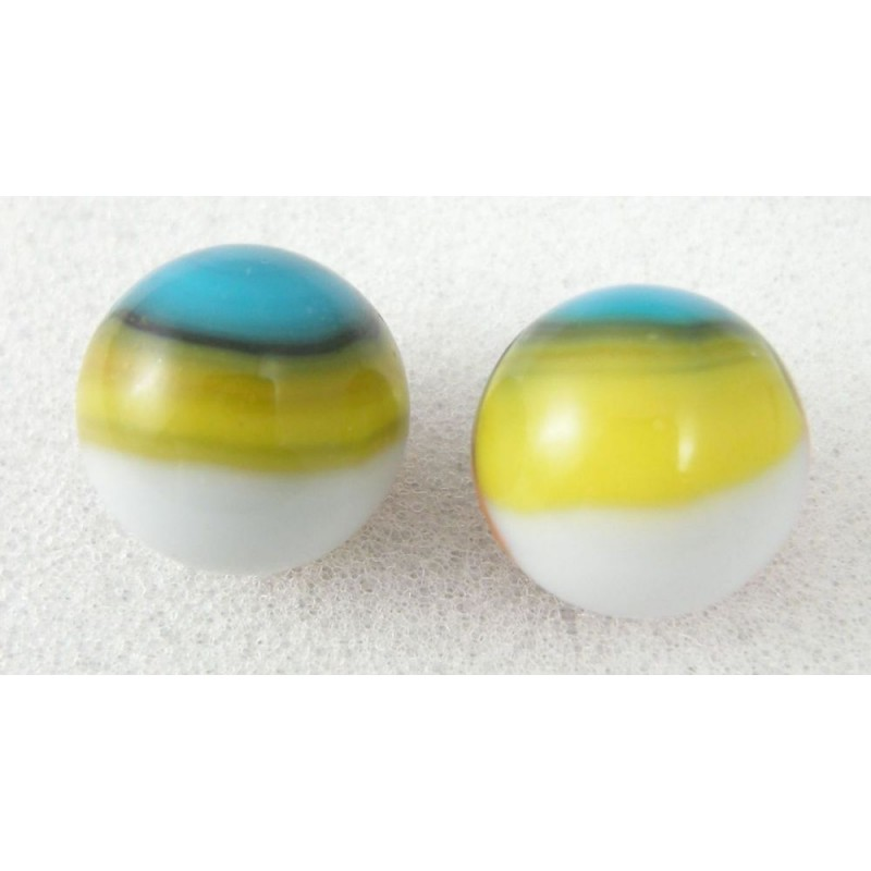 2 Vitro Tiger Eye Type 1 Marbles Tri Color Patch And Ribbon
